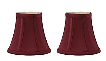 Urbanest 1100464a Set of 2 Chandelier Mini Lamp Shades 5-inch, Bell, Clip On, Burgundy