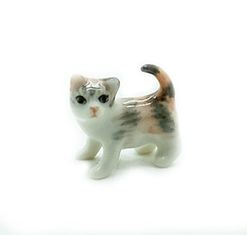 - Animal Miniature Handmade Porcelain Statue Tiny Tri Color Cat Kitten Figurine Collectibles Gift