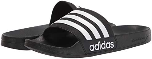 31fy%2BH68GpL. AC adidas Men's Adilette Shower Slides    Arsenal and adidas, together again. These swim slides show off the club's classic colours and crest. Slip them on in the locker room, on the beach or when you're running to the store. ImportedRubber soleShaft measures approximately low-top from archContoured-footbedEVA-outsole-for-lightweight-comfortSoft-Cloudfoam-footbed-for-quick-dry-comfortSingle-bandage-synthetic-upper-with-3-Stripes