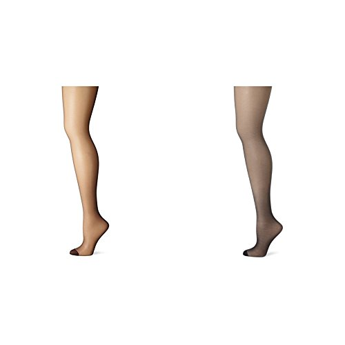 Hanes Women's 2 Pack Control Top Reinforced Toe Silk Reflections Panty Hose, Barely Black/Classic Navy, A/B by Hanes