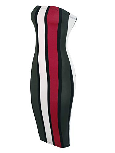 - BEYONDFAB Women's Super Sexy Comfortable Tube Top Body-Con Vertical Strips Midi Dress Wine M