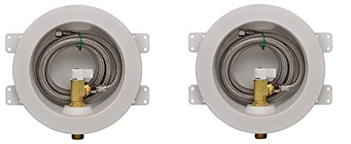 IPS Corporation GIDDS-284201 IPS Water-Tite Round Icemaker Valve Outlet Box with Quarter Turn Valve and Stainless Supply Line, Copper Sweat, Lead Free (2-(Pack)) by Water-Tite (Image #1)