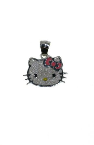 Sanrio Hello Kitty Steling Silver Enamel Head Charm Pendant. GIFT BOX