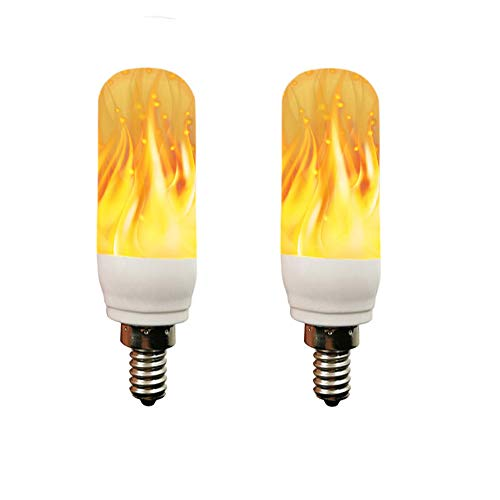 2 Pack 3 Modes LED Flame Light Bulb, E12 Candelabra Base, LED Flickering Bulb Candelabra Light Bulbs for Lantern Bar Party Christmas(Flame Bulb-E12)]()