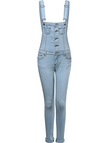 Womens Classic Long Fitted Overalls LIGHT LARGE