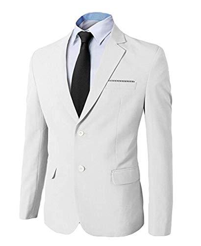 Fit Tuxedo Veste Longues Hommes Taille L Chic Blanc Manches Suit Blazer Slim couleur Business À wUtqXt0