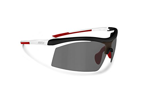Cycling Running Photochromic Polarized Sport Sunglasses - Adjustable Nose - Ultralight Nylon Mesh - by Snatch Italy (mat white / Shiny black / red, Photochromic - Ultralight Sunglasses