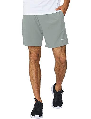 BALEAF Men's 5 Inches Running Athletic Shorts Zipper Pocket Light Gray Size M