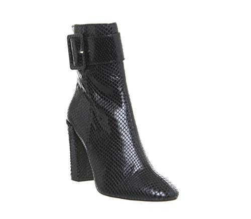 Buckle Strap Boots Block Snake Black Astonish Office Heel xS611Z