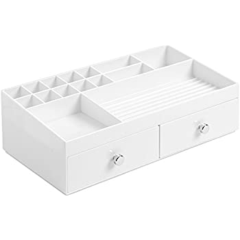 InterDesign Clarity Cosmetic Organizer for Vanity Cabinet to Hold Makeup, Beauty Products - 2 Drawers, White
