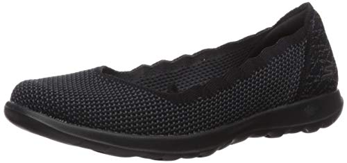 Skechers Women's GO Walk LITE-16372 Ballet Flat, Black/Gray, 7 M US