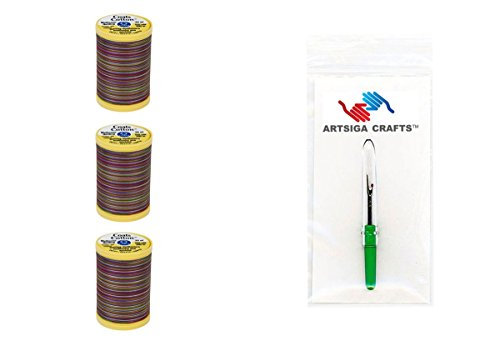 Coats & Clark Sewing Thread Machine Quilting Multicolor Cotton Thread 225 Yards (3-Pack) Over The Rainbow Bundle with 1 Artsiga Crafts Seam Ripper S972-0813-3P