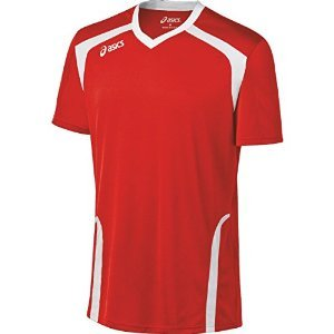 Volleyball Jersey Shirt - ASICS Men's Ace Jersey, Red/White, Large