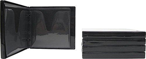 (5) Black 8-Disc Capacity CD DVD 2-Ring Album Wallet Book Storage CDBR1608BK (UniKeep Style)