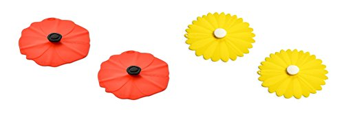 Charles Viancin Silicone Poppy and Daisy Yellow Drink Covers, Set of 4 (Covers Drink Poppy)