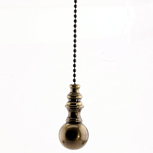 Antique Brass Ceiling Fan Pull Ornament - 1 Inch Ornament - 12 Inch Chain