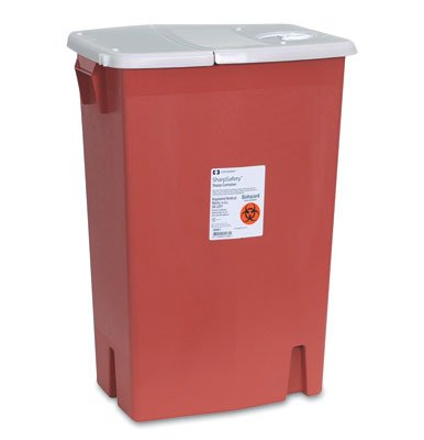18-1/4'' x 12-3/4'' x 26-3/4'' Red Portable Sharps Container with Hinged Lid (18 Gallon) (1 Container) - AB-135-80