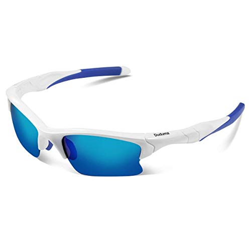 Duduma Polarized Sports Sunglasses for Men Women Running Baseball Fishing Cycling Driving Softball Hiking Unbreakable Shades DU566 (White frame with blue lens)