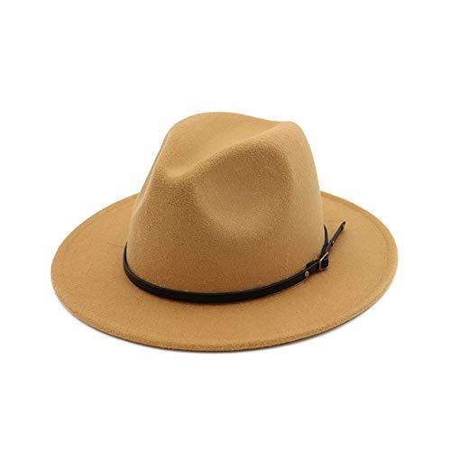(DJB Women's Classic Wide Brim Wool Fedora Panama Hat with Belt Buckle (Camel, One)