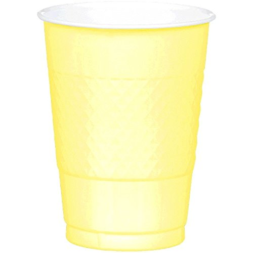 Reusable Party Plastic Cups Tableware, Light Yellow,16oz., Pack of 20