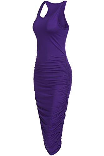 [OURS Women's Sexy Summer Sleeveless Ruched Sundress Fold Bodycon Midi Tank Dress (L, Purple)] (Sexy Purple Dress)