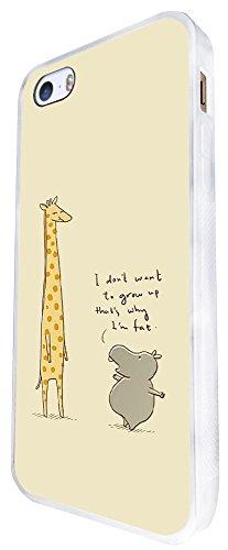 322 - Funny Conversation Giraffe And Hippo Design iphone SE - 2016 Coque Fashion Trend Case Coque Protection Cover plastique et métal - Blanc