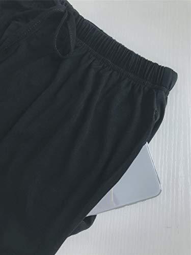 Pajamas Set for Womens 2 Piece Nightwear Long Sleeve Button Down Sleepwear Soft Pjs Black XXL