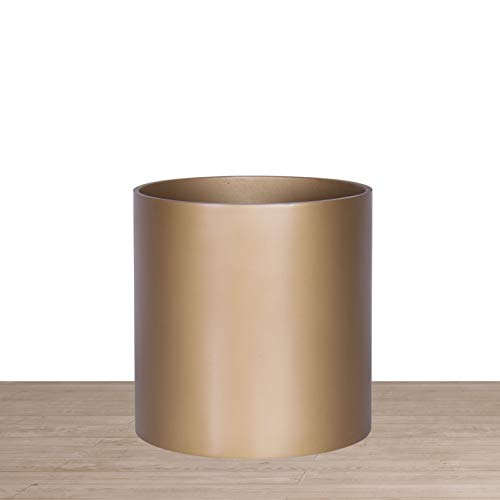 Indoor 8 Inches Round Modern Planter Pot - Bronze - Easy Grow Fiberglass Resin Planter with Drainage Hole and Plug - by D'vine Dev