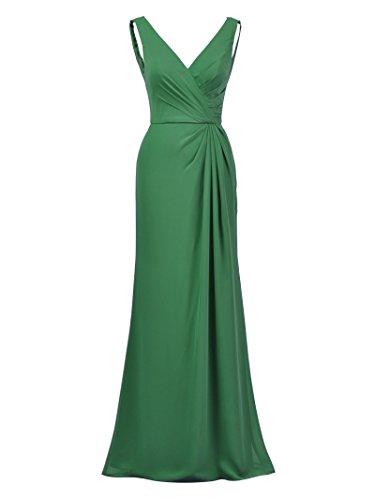 Alicepub Maxi Dress Formal Bridesmaid Dresses Mermaid Elegant Evening Prom Gown, Emerald, US8