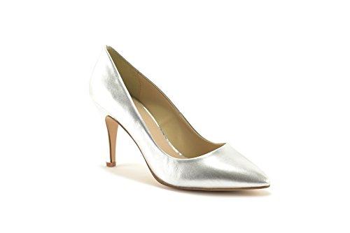 ConBuenPie by ENYA - New Collection - Salon de Piel Stiletto de Mujer Color Plata y Oro Plata
