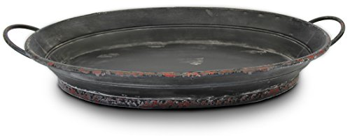 Large Black Oval Serving/Decorative Metal Tray (Decorative Black Tray)