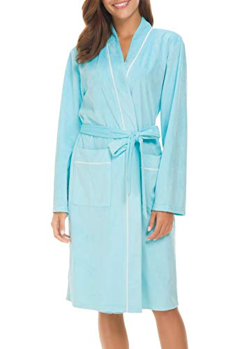 Invug Women Kimono Bathrobe Soft Flannel Sleepwear Fleece Spa Robes with Pockets Blue S