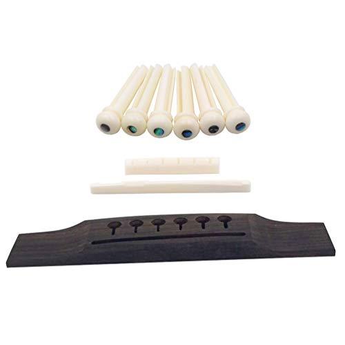 DISENS Acoustic Guitar Wooden Bridge Slotted Bone Saddle Nut Pin Set Guitars Replacement Parts