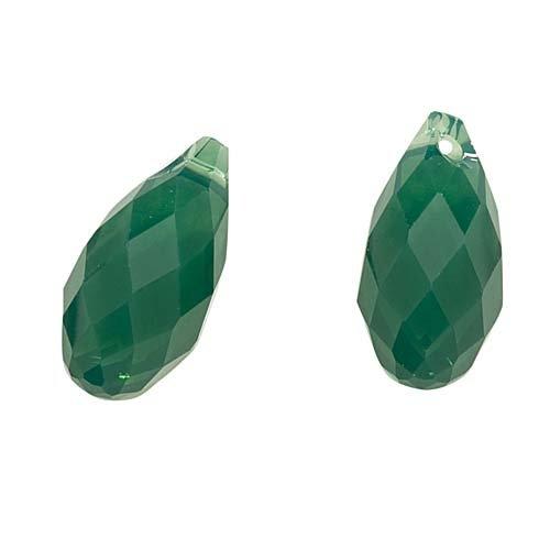 Swarovski Crystal, 6010 Briolette Pendants 13x6.5mm 2 Pieces, Palace Green Opal - Faceted Briolette Pendant Bead