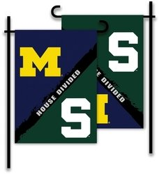 House Divided Garden - BSI PRODUCTS, INC. - Michigan - Michigan St.-2-Sided Garden Flag - Rivalry House Divided