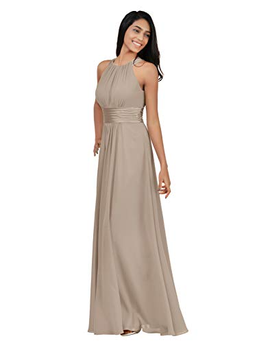 Alicepub Chiffon Plus Size Bridesmaid Dresses Long for Women Formal Evening Party Prom Gown Halter, Taupe, US18 from Alicepub