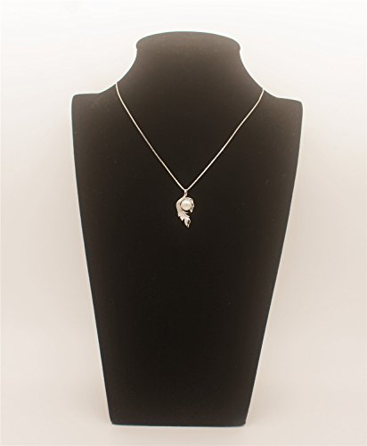 Startreasureland Argent sterling 925Pendentif 7mm Blanc perle de culture de feuille