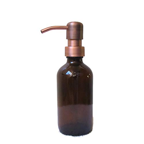 Antique Copper Soap - Craft Innovation Amber Glass Soap Dispenser 8 Ounce with Antique Copper Soap Dispenser Pump