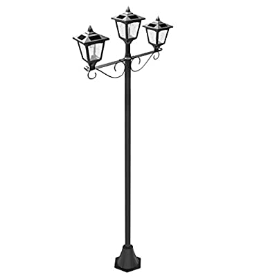Kanstar 57019b Street Vintage Outdoor Garden Triple Solar Lamp Post Light, Adjustable