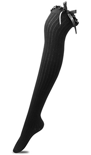 554ae917f Tububa Women s Girls Thigh High Stockings Over the Knee Socks with Satin  Bows(Black
