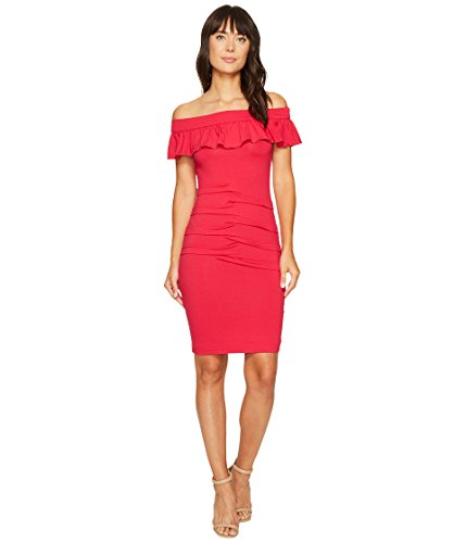 Nicole Miller Women's Solid Rayon Off The Shoulder Dress, Sour Cherry/Sch, P