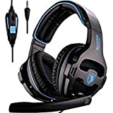 PS4 Gaming Headsets, Sades SA810 Xbox one Gaming Headphones 3.5MM Interface with MIC in-Line Control for Multiplatform PC/Xbox one/PS4/MAC/Tablet (Black Blue)