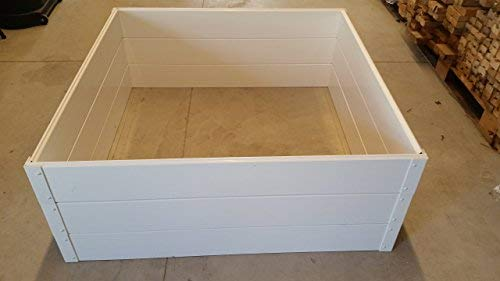 "Handy Bed 4 x 4 Stack-able, White, Vinyl, Raised Garden Bed 8 Actual Dimensions: Outer (47.25"" x 47.25"" x 6.00"") Inner (45.00"" x 45.00"" x 6.00"") Stack-able, Relocatable, Paint-able Simple design makes assembly easy"