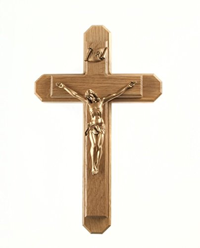 - Pastoral Sick Call Set Oak Wood Crucifix with Gold Tone Christ Corpus, 13 Inch