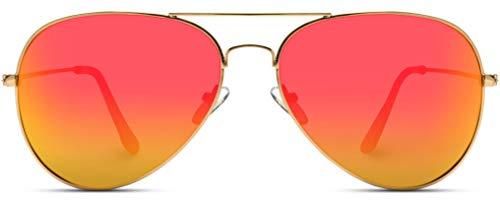 WearMe Pro - Polarized Metal Frame Pilot Style Aviator Sunglasses (Gold Frame/Mirror Red/Orange Lens, 60)