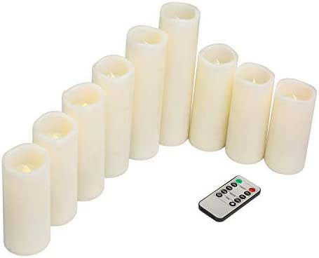 Tiwax Flameless Candles LED Candle 9 Sets Ivory Pillar H 4 5 6 7 8 9 Battery Remote Control Timer