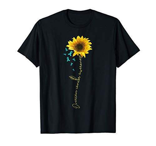- ovarian cancer shirt-teal ribbon sunflower tee gift survivor