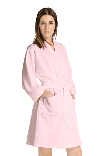 Fishers Finery Women's Waffle Kimono Resort Spa Robe; Above Knee (Pink, L) - Front Quilted Robe