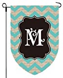 Home Garden Flags Monogram – Chevron Burlap – 12.5 x 18 (LETTER M)