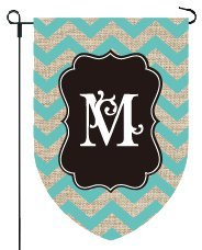 Home Garden Flags Monogram - Chevron Burlap - 12.5 x 18 (LETTER M)